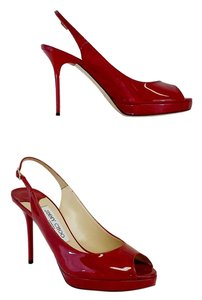 Jimmy Choo Red Patent Leather Peep Toe Slingback Sandals