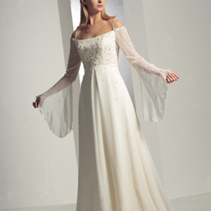 Anjolique Ivory/Cream Chiffon Style 330 Vintage Wedding Dress Size 8 (M)