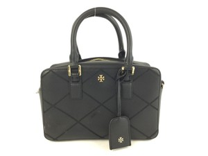 Tory Burch Leather Saffiano Satchel in Black