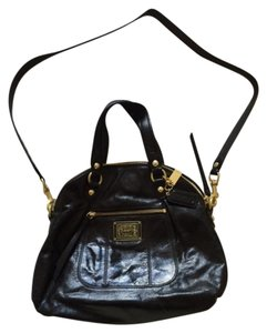 Coach Leather Glossy Satchel in Black