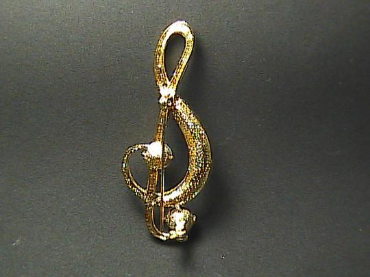 Vintage Musical Note Rhiestone Brooch