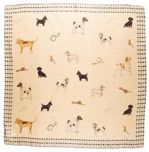 Burberry Beige, brown, black multicolor Burberry Nova Check plaid dog print silk scarf