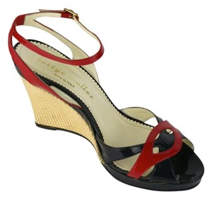 Bettye Muller Patent Leather Strappy Black and Red Sandals