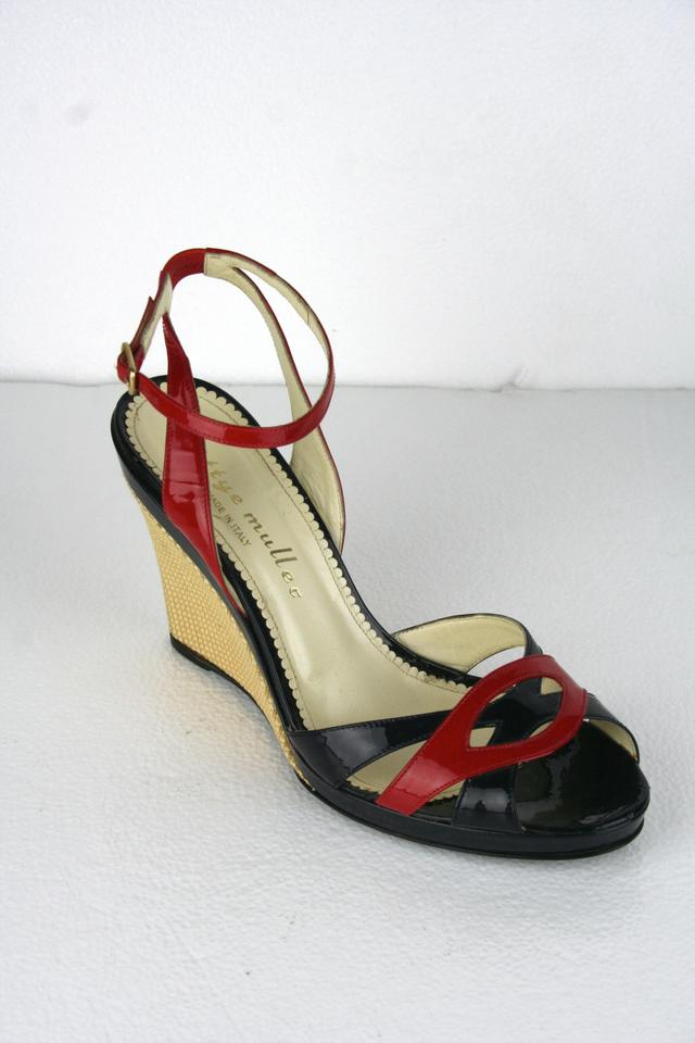 Bettye Muller & Patent Leather Strappy Wedge Black And Red ...