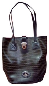 Dooney & Bourke Tote in black/perferaited with tan dots