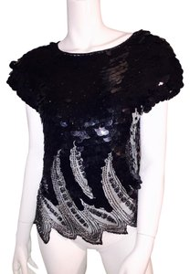 vintage sequin and beaded top Top Black