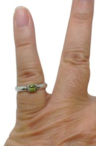 Tiffany & Co. size 6.75, green Peridot, solitaire, stacking, fashion ring