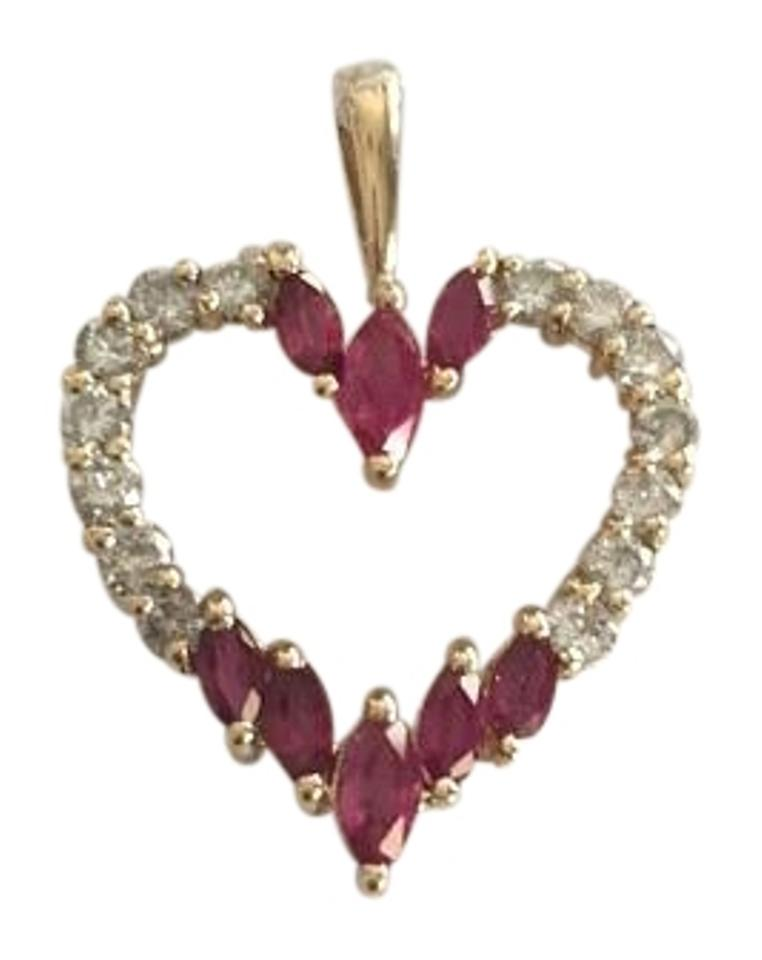 Yellow red and white steal wholesale 14k gold 12 diamond ruby other steal wholesale 14k yellow gold 12 diamond and ruby heart pendant aloadofball Images