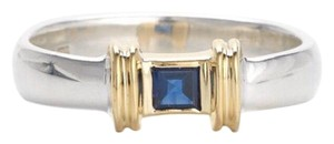 Tiffany & Co. 18k yellow gold, sterling silver, 0.25TCW blue sapphire, stacking ring