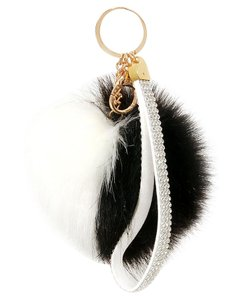 Other Black And White Color Block Rhinestone Crystal Accent Pom Pom Rabbit Fur Bag/Purse Charm Key Chain Accessory