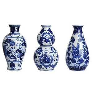 (10) Set Of 3 Ceramic Vase-blue/white (1) Large Ceramic Vase Blue/white