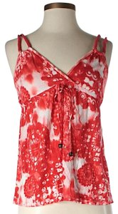 Ella Moss Floral Sweetheart Top Red & White
