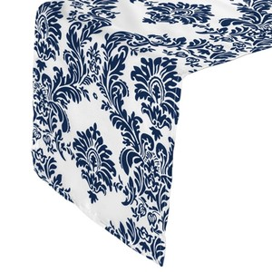 Navy and White 16 Table Runner (Flocking) - / Tablecloth