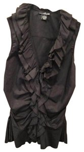 Willi Smith Sleeveless Ruffle Top Black