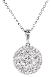 Other 18K White Gold 1.08Ct Diamond Round Pendant Necklace 2.8 Grams 16