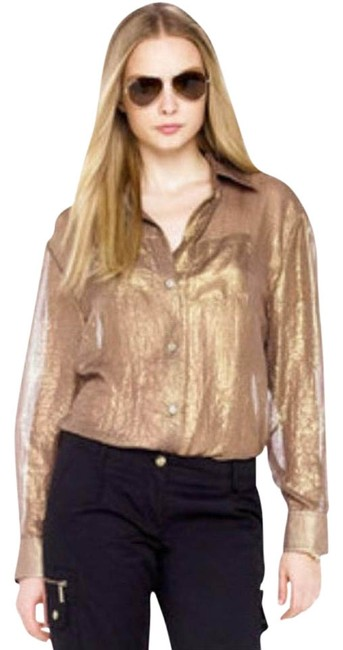 Item - Gold XS Boyfriend Shirt Brass Sheer Button-down Top Size 2 (XS)