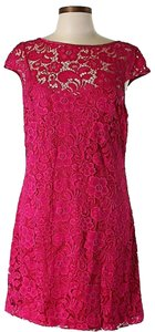 Theia Lace Scoop Back Dress
