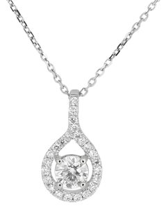 Other 18K White Gold 0.61Ct Diamond Pendant Necklace 2.5 Grams 18