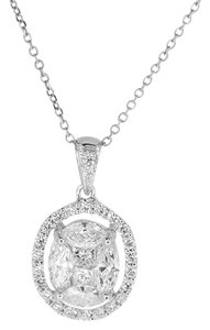 18K White Gold 1.13Ct Diamond Oval Pendant Necklace 2.7 Grams 16