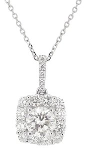 Other 18K White Gold 1.18Ct Round Diamond Pendant Necklace 2.4 Grams 15