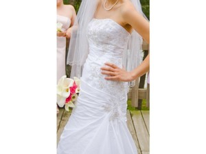 David's Bridal Style T9397 Strapless Taffeta Trumpet Wedding Dress