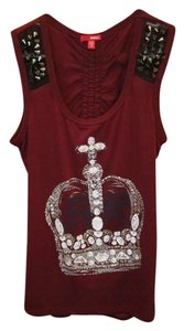 Bongo Crown Gold Sparkle Maroon Top Burgundy