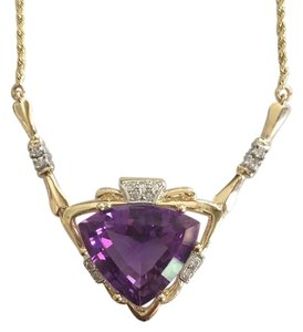 WHOLESALE - Gorgeous Designer 14K Amethyst & diamond necklace