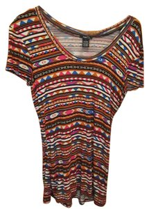 Rue 21 Western T Shirt Multi Tribal Print
