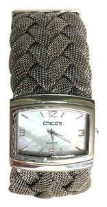 Chico's Chico's Silver Woven Mesh Watch with Opalescent Square Quartz Face