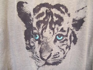 Charlotte Russe Graphic Tiger High Low T Shirt Gray