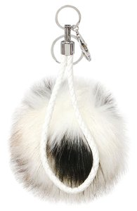 Other Black Color Block Leather Accent Pom Pom Rabbit Fur Bag/Purse Charm Key Chain Accessory