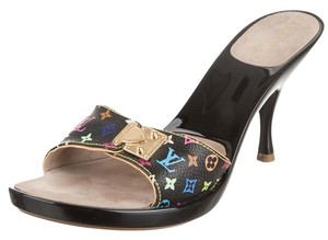 Louis Vuitton Gold Hardware Platform Black, Multicolor Sandals
