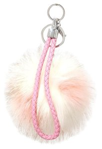Other Light Pink Color Block Leather Accent Pom Pom Rabbit Fur Bag/Purse Charm Key Chain Accessory