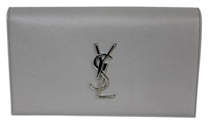 Saint Laurent Monogram Leather Ysl Grey Clutch