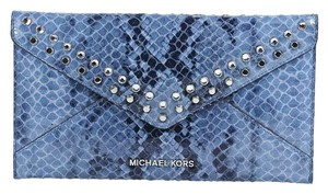 Michael Kors Jet Set Denim Python Envelope Jewel Denim Blue Clutch