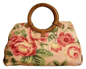 Fossil Leather Linen Satchel in Vintage Shabby Chic Floral