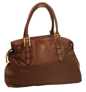 35b6c92a0246 Tory Burch Robinson Robinson Soft Leather Leather Luggage Tan Tote in Dark  Brown