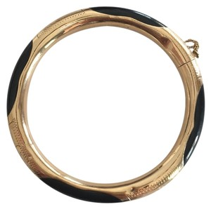 RARE - 14k gold and black Jade hinged bangle bracelet