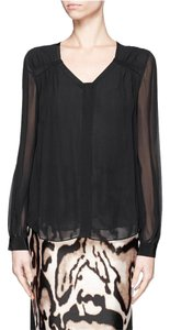 Diane von Furstenberg Silk Sheer V-neck Flowy Classic Top Black