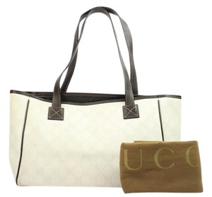 Gucci Brown Leather Neverfull Tote in White