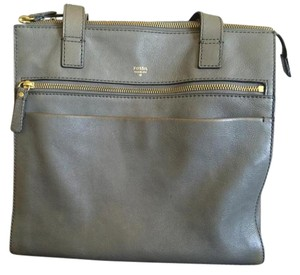 Fossil Leather Shopper Tote in Grey