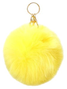 Yellow Pom Pom Rabbit Fur Bag/Purse Charm Key Chain