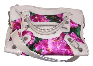 Balenciaga Studded Floral Satchel in White Floral
