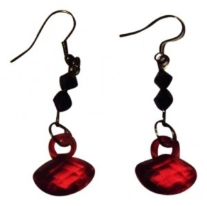Unknown gothic red and black beaded earrings