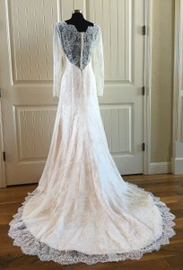 Augusta Jones Ivory/Blush Lace Marjorie Feminine Wedding Dress Size 10 (M)