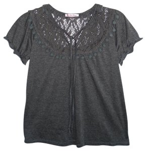 Anthropologie Knit Lace Short Sleeve Top Grey