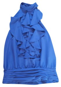 Forever 21 Indigo Ruffle Sleeveless Top Blue