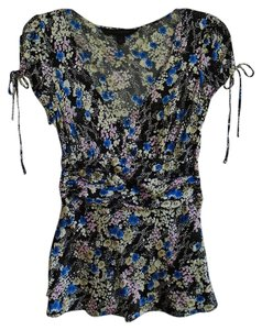 Express Silk Print Floral Casual Top Black with White and Blue