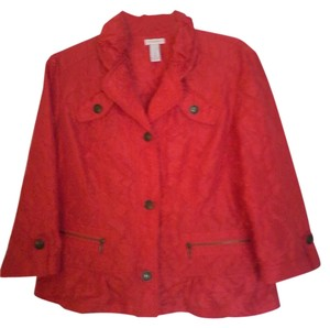 Chico's Crinkle Lightweight Orangey Red Jacket