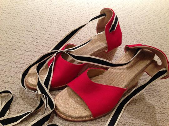 Unknown Espadrille Ankle Strap Red Wedges